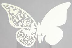 Free shipping 300 12pcs/pack Laser Cutting Butterfly Place Card,PCB-02 Ivory wedding place cards for Wine Glass.