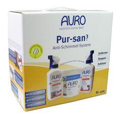 AURO Pur-san3 - Nr. 414 - Das Anti-Schimmelset von AURO  Drei Komponenten zur Schimmelbeseitigung und Vorbeugung in der praktischen Box für zuverlässige Abhilfe bei Schimmelpilzproblemen.  Das AURO Pur-san3 Anti-Schimmel-System Nr. 414 enthält:  1 x AURO Schimmel-Entferner Nr. 412 - 0,5 Liter 1 x AURO Schimmel-Stop Nr. 413 - 0,5 Liter 1 AURO Anti-Schimmel-Farbe Nr. 327 - 1 Liter  Achtung: ***Biozidprodukte vorsichtig verwenden. Vor Gebrauch stets Etikett und Produktinformationen lesen.***