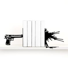 Book ends Man cave Gun & blood splatter bookends Gift for men Fathers day gift Book shelf decor Book lover gift Home decor Detective - black
