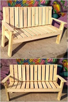 reused wood pallet outdoor bench