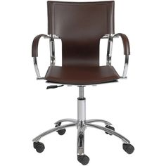 Vinnie /Chrome Office Chair found on Polyvore featuring polyvore, home, furniture, chairs, office chairs, chrome furniture, modern desk chair, brown chair, mod chair and brown furniture