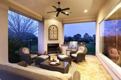 Outdoor Loggia with Summer Kitchen and fireplace