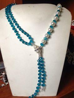 #collana in finte #perle e #cristalli #azzurri. Info@oro18.eu #oro18 #bigiotteria #bijoux #jewelry Presto su www.oro18.eu