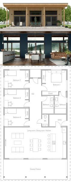 Architecture House Floor Plans Small House designs in modern style. Affordable to build. Shipping Container House Plans, Shipping Containers, Container Home Plans, Casas Containers, Prefab Homes, Prefab Tiny Houses, Facade House, Brick Facade, House Layouts