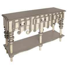 Striped wood server with decorative apron and lower shelf.      Product: ServerConstruction Material: Wood...