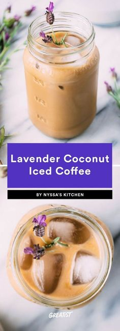While most coffee shops would likely opt for a lavender syrup, this recipe infuses coconut milk with the fresh purple flower by simmering them together for 15 minutes. The result: a soothing, lightly Thai Iced Coffee, Turkish Coffee, Recipe For Iced Coffee, Blended Coffee Recipes, Healthy Iced Coffee, Blended Coffee Drinks, Sorbet, Chocolate Covered Coffee Beans, Hot Chocolate