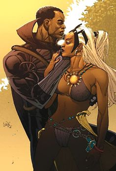 Black Panther and Storm by Leinil Yu Black Panther Comic Books, Storm Comic, Storm Marvel, Wanted Comic, Black Panther Storm, Storm Cosplay, Marvel Characters, Disney Characters, Ororo Munroe
