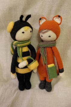 BUZZ mod and FIBI the fox made by Helen M. / crochet patterns by lalylala