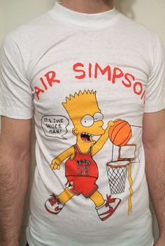 "Vintage 80's / 90's ""Air Simpson"" Bart Simpson / Michael Jordan / Chicago Bulls / Nike basketball t-shirt."