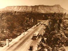 Kalakaua Avenue, Waikiki.  Diamond Head in the background.  Honolulu, Hawaii 1908.
