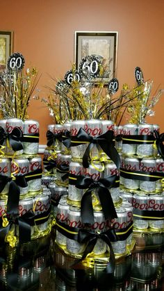 60th birthday beer cake tower centerpiece