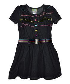 Look at this #zulilyfind! Denim Blue Ruffle Belted Dress - Infant & Toddler by Samara #zulilyfinds
