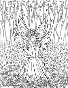 Contemplative FairyFairy Fae Fantasy Myth Mythical Mystical Legend Elf Wings Fantasy Elves Faries Coloring pages colouring adult detailed advanced printable Kleuren voor volwassenen coloriage pour adulte anti-stress kleurplaat voor volwassenen