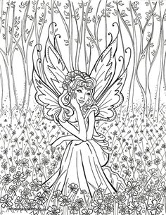 Contemplative FairyFairy Fae Fantasy Myth Mythical Mystical Legend Elf Wings Fantasy Elves Faries Coloring pages colouring adult detailed advanced printable Kleuren voor volwassenen coloriage pour adulte anti-stress kleurplaat voor volwassenen