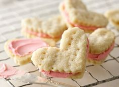 Valentine Cream Wafers Recipe from Betty Crocker - This is almost exactly like my great grandmothers recipe but we call them Pie Dough Cookies. It's a Swedish recipe. Wafer Cookies, Buttery Cookies, Cream Cookies, Sweet Cookies, Baby Cookies, My Funny Valentine, Valentines, Valentine Cookies, Christmas Cookies
