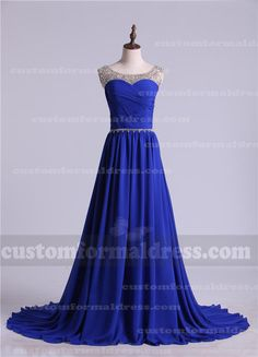 Beaded Bateau Neck Ruched Royal Long Prom Dresses LOXF272