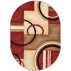Barclay Arcs and Shapes Red 7 ft. 10 in. x 9 ft. 10 in. Modern Geometric Oval Area Rug