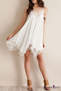 Relaxed Crochet Paneled Asymmetrical Hem Swing Cami Dress - Beautifulhalo.com