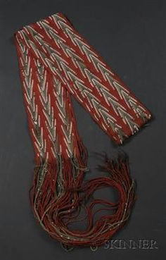 Northeast Finger-woven Beaded Wool Sash