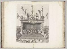 Anonymous | Anjou wordt op het podium gekroond tot hertog van Brabant, 1582, Anonymous, Hans Vredeman de Vries, 1582 | De hertog van Anjou wordt op het podium door Willem van Oranje gekroond tot hertog van Brabant. Op het dak van het toneel zijn symbolen van Antwerpen aangebracht. Plaat II in de beschrijving van de intocht van de hertog van Anjou te Antwerpen, 19 februari 1582.