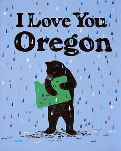 """I Love You Oregon"" Print by 3 Fish Studios"