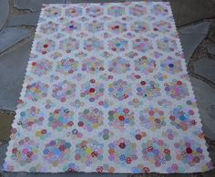 """Vicky's Flower Garden...made with 1"""" hexagons using 1930's reproduction fabrics.  I will hand quilt."""