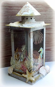 Beach Light by Susanne Rose, made out of paper!! She has a FREE cutting file for this lantern on her blog. Awesome! ♥