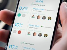Schedule page educational mobile app
