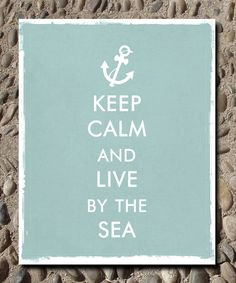 Keep Calm and Carry On Beach Sea PRINT, Beach house digital art poster, Typography Art Poster, Custom colors and font 8 x 10. $18.00, via Etsy.