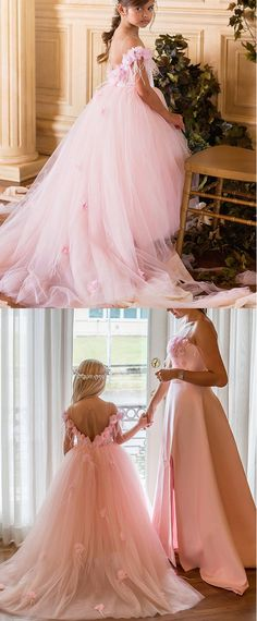 Charming Tulle & Satin Jewel Neckline Floor-length Ball Gown Flower Girl Dresses With Handmade Flowers & Feathers & Beadings