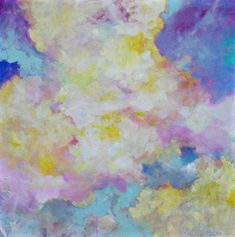 """Large Cloud Painting on Canvas Sky Soft Colors """"Spring Clouds"""" 36x36"""" by Kerri Blackman"""