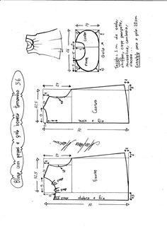 Esquema de modelagem de blusa com pregas e gola boneca tamanho 56.