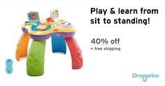 "Help me drop the price of the Fisher-Price Learning Table to $26.99 (40% off). The price continues dropping as more moms click ""Drop the price"". Moms drop prices of kids & baby products by sharing them with each other."