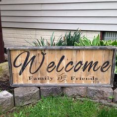 Large 36x14 Rustic Welcome wood sign made by Shabs2RichesVintage