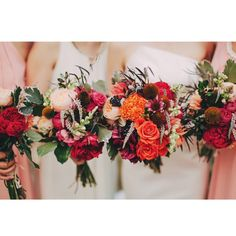 Bridal bouquets by Bunched Together for Adrian and Jaclyn .... Orange peach dahlias :)) Photo: The Robertsons Photography