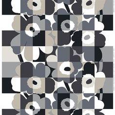 Ruutu-Unikko oilcloth - black-grey - Marimekko
