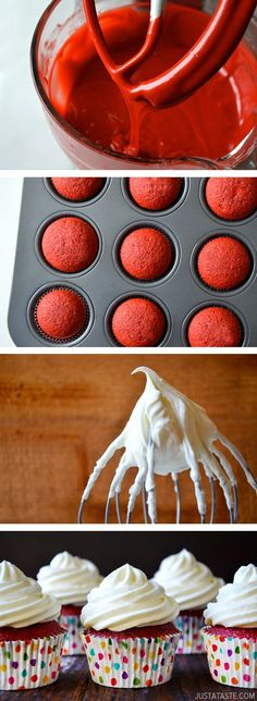 Red Velvet Cupcakes with Piped Cream Cheese Frosting from justataste.com #recipe