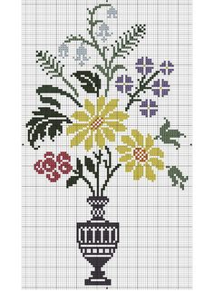 ru / Photo # 85 - Flowers and other vegetative . Modern Cross Stitch Patterns, Cross Stitch Charts, Cross Stitch Designs, Cross Stitching, Cross Stitch Embroidery, Hand Embroidery, Crochet Chart, Crochet Motif, Blackwork Patterns