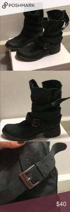 Steve Madden Slouch Moto boot Super slouchy Moto boot. Looser than I wanted so I created another hole and ended up tearing the leather🙈 Buckle covers the staple but could be easily sewn. Otherwise great condition. Steve Madden Shoes Combat & Moto Boots
