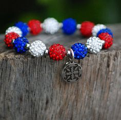 Red, White and Blue Kaleidoscope Silver – Rustic Cuff