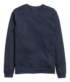 Blue melange. Lightweight sweatshirt with a round neck, long sleeves, and ribbing at cuffs and hem.
