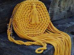Вязаная сумка «Осеннее солнце» из трикотажной пряжи | Ярмарка Мастеров - ручная работа, handmade