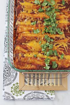 chicken, black bean and vegetable enchiladas featured in the Spring 2014 Week 8 meal plan on Rainbow Delicious.