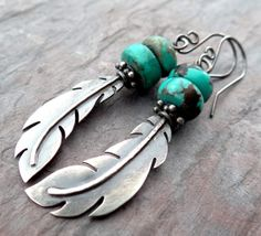 Raven Feather and Turquoise Earrings // by LostSparrowJewelry, $35.00