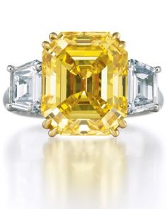 "Yellow Asscher-cut Engagement Ring from Harry Winston, gaining in popularity, the Asscher-cut diamond puts a twist on traditional diamonds and is sometimes called the ""square emerald."""