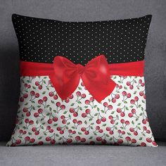 Decorative Pillows 822118106964744656 - Rockabilly Polka Dot Cherries and Bow Decorative Throw Pillow Cover – Ink and Rags Source by lovvelondon White Pillow Covers, White Pillows, Diy Pillows, Throw Pillow Covers, Shabby Chic Pillows, Colorful Pillows, Handmade Pillows, Patchwork Pillow, Quilted Pillow