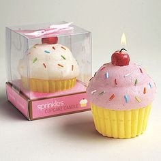 """Sprinkles™ Cupcake Candle in Gift Box. Burn time is about 12 hours. Sold in sets of 2 including one each of pink and white. 3"""" x 3 1/2""""  http://madisonavegifts.com/index.php?page=shop/flypage&product;_id=10455"""
