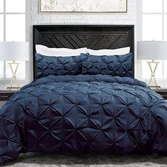 Sleep Restoration Pinch Pleat 3-Piece Luxury Goose Down Alternative Comforter Set - Premium Hypoallergenic All Season Pintuck Style Duvet Set -King/Cal King - Navy