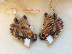 Beaded Earrings Patterns, Seed Bead Patterns, Seed Bead Earrings, Beading Patterns, Seed Beads, Etsy Earrings, Crochet Earrings, Animal Earrings, Loom Patterns