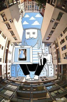En una serie de intervenciones llamada Sky Art, el artista Thomas Lamadieu tomó fotos de edificios y rascacielos en sus viajes por el mundo. Muchas de estas imágenes apuntan al cielo usando lentes ojo de pez. Luego usa el cielo de cada una de sus fotos como su lienzo, llenándolo con ilustraciones que incorporan el color natural del cielo.